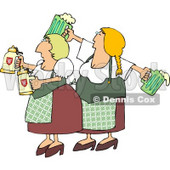 German Girls Dressed Wearing Traditional German Outfits and holding Beer Steins and Pitchers Clipart © djart #4203