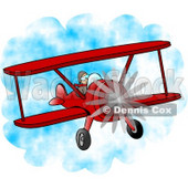 Male Pilot Flying a Red Biplane Clipart © Dennis Cox #4207