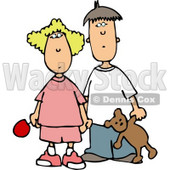 Worried Brother and Sister Holding Hands Clipart © Dennis Cox #4209