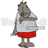 Ethnic Man Brushing His Teeth with Toothbrush and Toothpaste Clipart © djart #4212