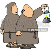 Monks Wearing Robes and Holding a Lit Lantern at Night Clipart © Dennis Cox #4215