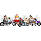 Biker Men and Woman Riding Motorcycles Together as a Group Clipart © djart #4216