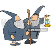 Two Wizards, One's Holding a Lantern and the Other is Holding a Walking Stick Clipart © Dennis Cox #4217