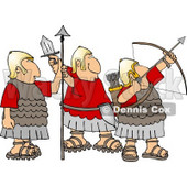 Roman Soldiers Armed with Bow & Arrow, Sword, and Spear Clipart © Dennis Cox #4218