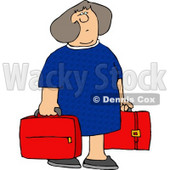Woman Carrying Two Red Suitcases Clipart © djart #4219
