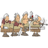 Four Roman Soldier Armed with Weapons and Ready for Battle Clipart © Dennis Cox #4220