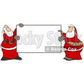 Two Santa's Holding a Blank Sign Clipart © Dennis Cox #4221
