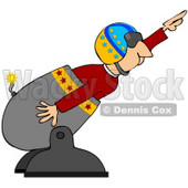 Clipart Illustration of a Male Human Cannonball In A Helmet, Preparing To Shoot Out Of A Cannon © Dennis Cox #42213