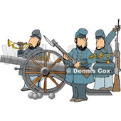 Union Soldier Armed with Rifles and a Canon Clipart © Dennis Cox #4222