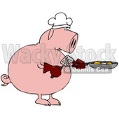 Clipart Illustration of a Breakfast Chef Pig Cooking Eggs in a Pan © Dennis Cox #42241