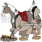 Alert Indians Standing Beside a Campfire and Horse Clipart © Dennis Cox #4225