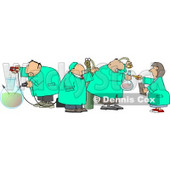 Four Scientists Testing Chemicals in a Science Lab  Clipart © Dennis Cox #4227