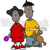 Ethnic Brother and Sister Standing Together Clipart © Dennis Cox #4231