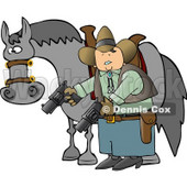 Cowboy Standing Beside His Horse and Pointing Guns Towards the Ground Clipart © Dennis Cox #4237
