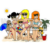 Smiling Beach Girls Posing Together Under the Sun Clipart © Dennis Cox #4238