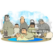Sheep and Family Watching Their Son Get Baptised by a Religious Christian Figure Clipart © Dennis Cox #4242