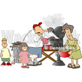 Dad, Mom, Son, and Daughter Grilling Barbecue Hamburgers Clipart © Dennis Cox #4244