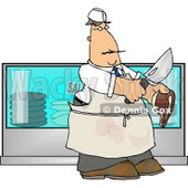 Butcher Holding a Cow Meat Steak and a Knife Clipart © djart #4247