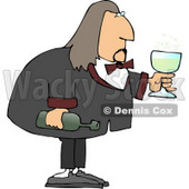 Male Waiter Serving Wine in a Glass Clipart © Dennis Cox #4249