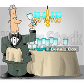 Male Butler Cleaning and Polishing Wine Glasses Clipart © Dennis Cox #4251