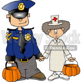 Halloween Police Officer and Doctor Clipart © Dennis Cox #4255