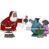 Ethnic Santa Clause Handing Out Candy Canes to a Group of Kids Clipart © Dennis Cox #4256