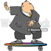 Successful Businessman Surfing On a Skateboard Clipart © djart #4257