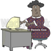 Obese African American Secretary Working On a Computer Clipart © djart #4258