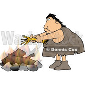 Female Caveman Starting a Campfire Clipart © djart #4261