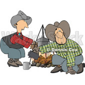 Cowboy and Cowgirl Beside a Campfire Clipart © djart #4262
