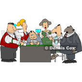 Casino Gamblers Playing Poker Game Clipart © Dennis Cox #4266