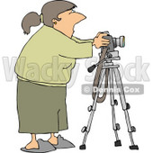 Freelance Photographer Taking Photographs with Digital Camera Mounted to a Tripod Clipart © djart #4268