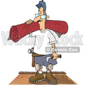 Floor Man Installing New Carpet In a House Clipart Illustration  © Dennis Cox #4272