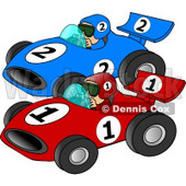 Cars Racing Each other Down a Speedway Clipart © Dennis Cox #4274
