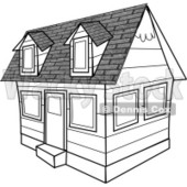 Black and White House Clipart © Dennis Cox #4276