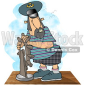 Ship Captain Navigating His Vessel Clipart © Dennis Cox #4277