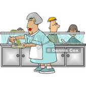 Cafeteria Lady Preparing Plates of Food for School Children Waiting In Line Clipart © djart #4278