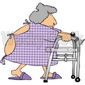 Hospitalized Obese Woman Using a Walker Clipart © djart #4282