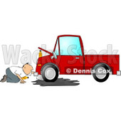 Man Trying to Give a Red Truck an Oil Change Clipart © Dennis Cox #4285