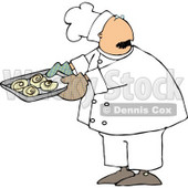 Male Baker Looking Over His Shoulder While Holding a Tray of Raw Cinnamon Rolls Clipart © djart #4288