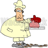 Baker Accidentally Dropping a Pan of Baked Cinnamon Rolls On the Floor Clipart © djart #4291
