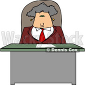 Business Woman Sitting Behind Her Desk Clipart © Dennis Cox #4293