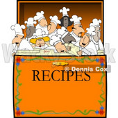 Concept Clipart Illustration of Chef's & Cooks in a Recipe Box © Dennis Cox #4298