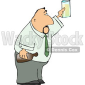 Partying Businessman Holding a Glass and Bottle of Beer Clipart © djart #4300