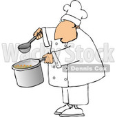 Male Chef Holding a Spoon and Pot of Soup Clipart © Dennis Cox #4302