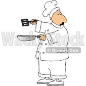 Male Chef Holding a Skillet and Spatula Clipart © Dennis Cox #4304