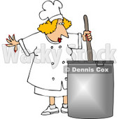 Female Chef Stirring a Pot of Soup Clipart © djart #4305