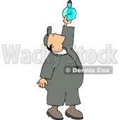 Repairman Installing a New Lightbulb Clipart © Dennis Cox #4310