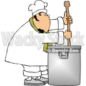 Male Chef Stirring a Large Pot of Soup with a Spoon Clipart © djart #4311