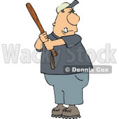 Angry Male Baseball Batter Holding the Bat Aggressively and Getting Ready to Swing at the Ball Clipart © Dennis Cox #4315
